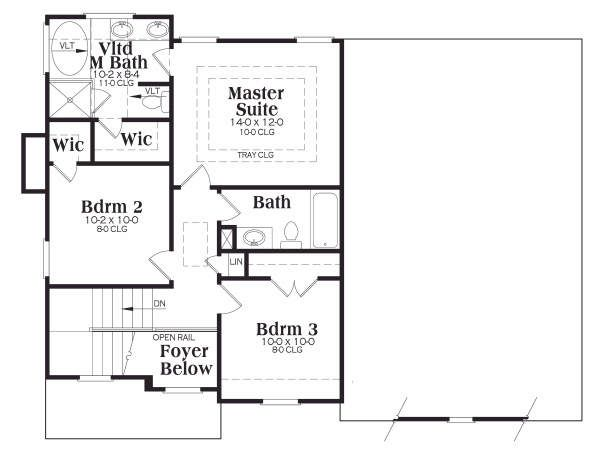 Craftsman Floor Plan - Upper Floor Plan Plan #419-157
