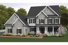 Colonial Exterior - Front Elevation Plan #1010-35
