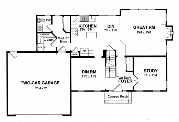 Colonial Floor Plan - Main Floor Plan Plan #316-291
