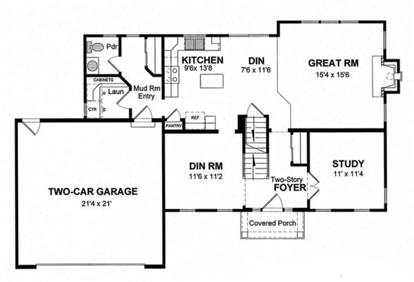 Home Plan - Colonial Floor Plan - Main Floor Plan #316-291