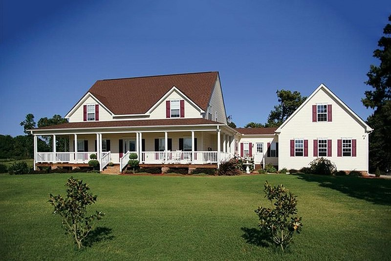 Farmhouse Style House Plan - 4 Beds 3.5 Baths 2972 Sq/Ft Plan #56-205 Exterior - Front Elevation