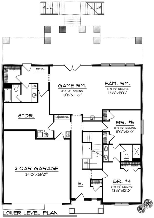 Traditional Floor Plan - Lower Floor Plan Plan #70-1435