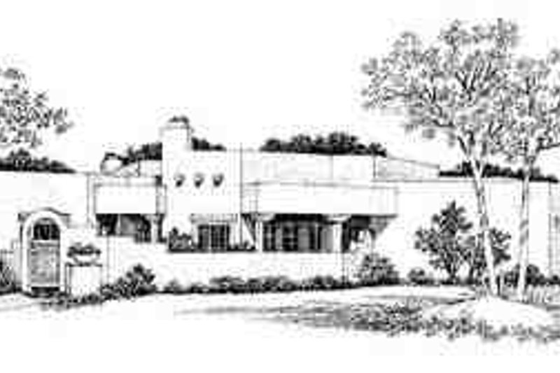 Adobe / Southwestern Exterior - Front Elevation Plan #72-233