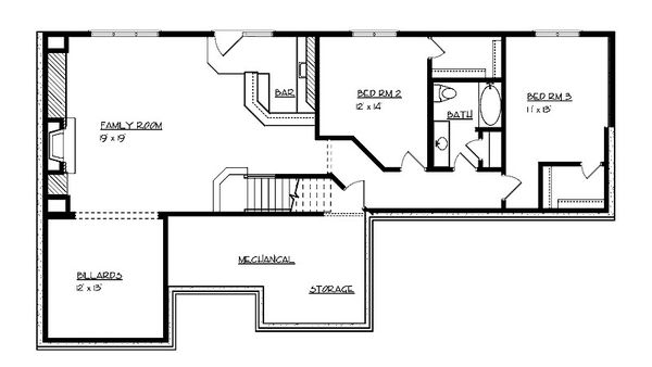 Craftsman Floor Plan - Lower Floor Plan Plan #320-496
