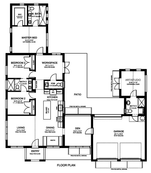 Modern Floor Plan - Main Floor Plan Plan #1058-171