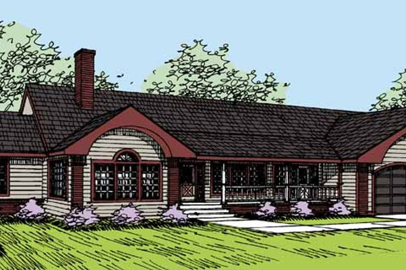 Architectural House Design - Country Exterior - Front Elevation Plan #60-1020