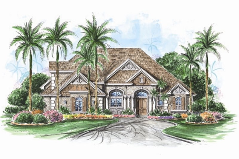 Mediterranean Style House Plan - 4 Beds 4.5 Baths 5025 Sq/Ft Plan #27-429 Exterior - Front Elevation