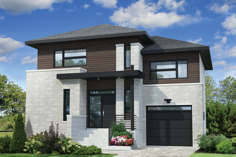 Contemporary Style House Plan - 3 Beds 1 Baths 1724 Sq/Ft Plan #25-4561 Exterior - Front Elevation