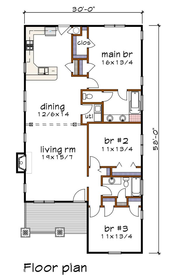 Craftsman Floor Plan - Main Floor Plan Plan #79-269