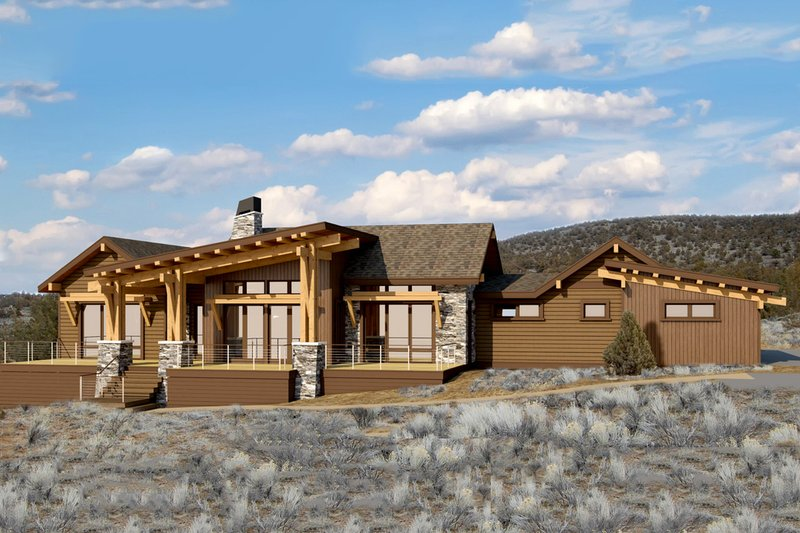 Ranch Style House Plan - 4 Beds 2.5 Baths 3249 Sq/Ft Plan #895-28 Exterior - Front Elevation