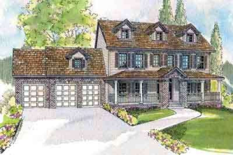 Colonial Exterior - Front Elevation Plan #124-498