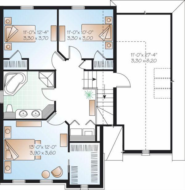 European Floor Plan - Upper Floor Plan Plan #23-799