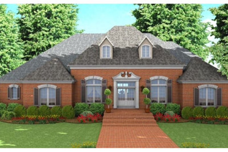 Southern Exterior - Front Elevation Plan #406-137