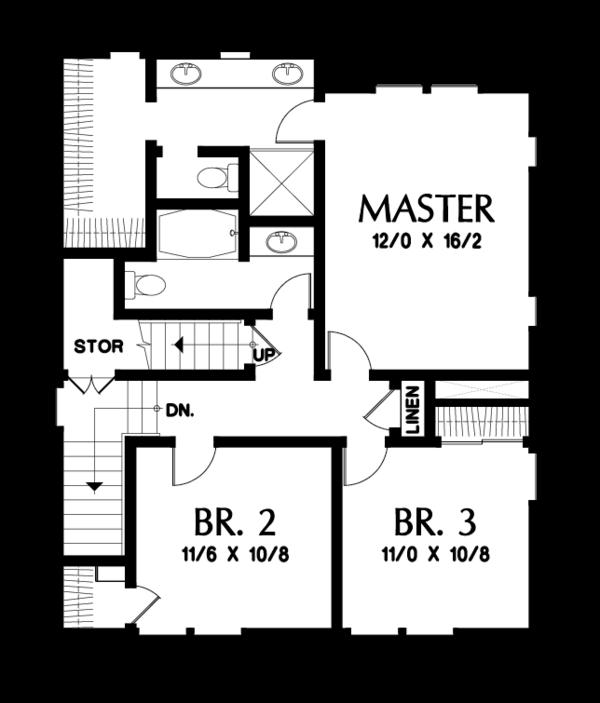 Craftsman Floor Plan - Upper Floor Plan #48-678