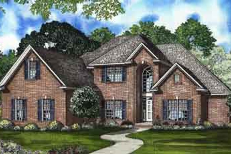 Traditional Style House Plan - 4 Beds 3 Baths 2973 Sq/Ft Plan #17-2079 Exterior - Front Elevation