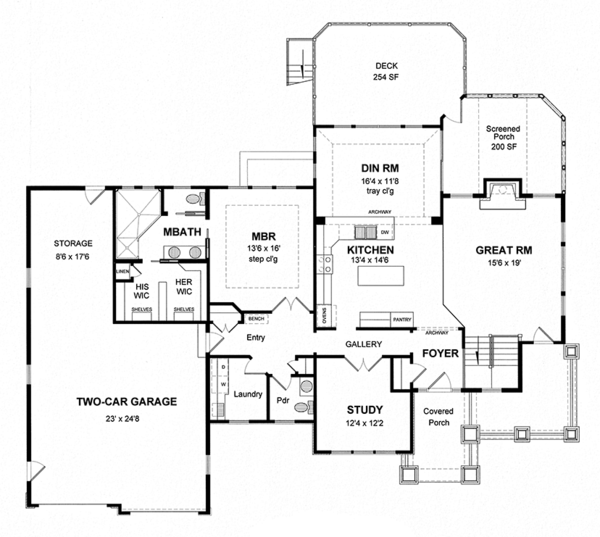 House Plan Design - Ranch Floor Plan - Main Floor Plan #316-288