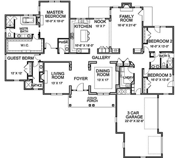 Traditional Floor Plan - Main Floor Plan Plan #490-20