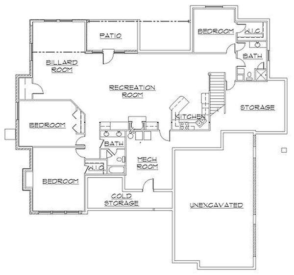 Traditional Floor Plan - Lower Floor Plan Plan #945-29