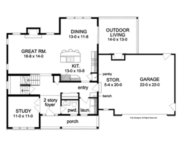 Colonial Floor Plan - Main Floor Plan Plan #1010-49