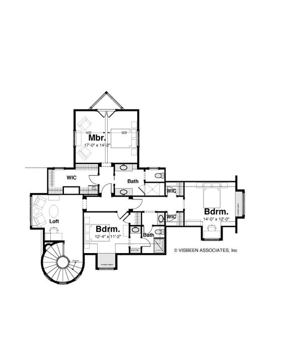 Craftsman Style House Plan - 3 Beds 2.5 Baths 3477 Sq/Ft Plan #928-244 Floor Plan - Upper Floor Plan