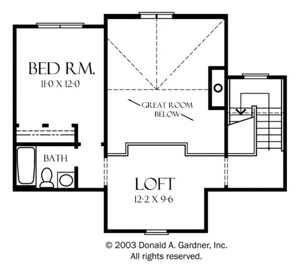 Craftsman Floor Plan - Upper Floor Plan Plan #929-933