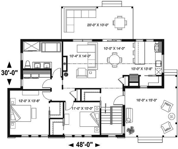 Home Plan - Modern Floor Plan - Main Floor Plan #23-2676