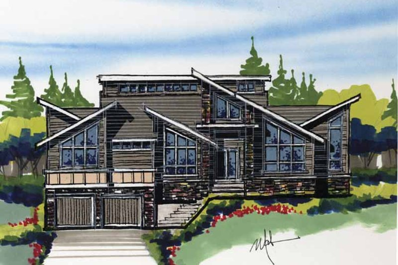 Contemporary Exterior - Front Elevation Plan #509-384