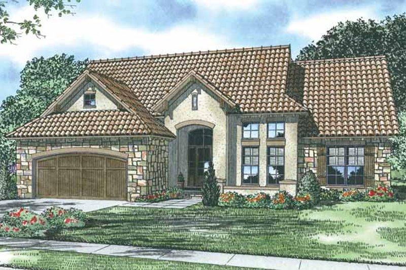 Dream House Plan - Mediterranean Exterior - Front Elevation Plan #17-2925