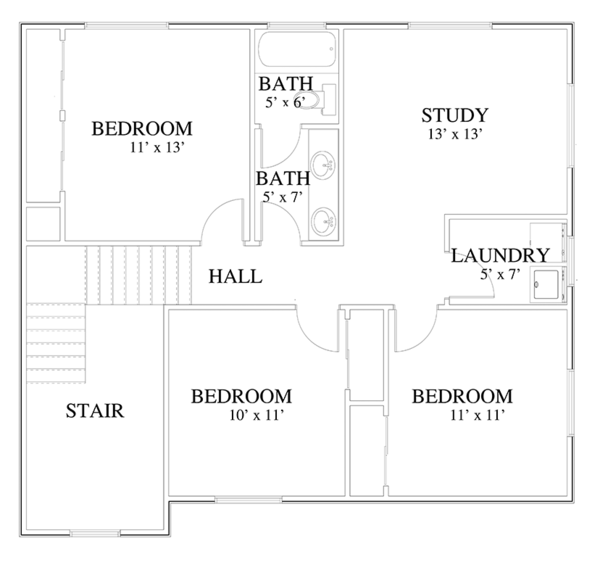 Traditional Floor Plan - Upper Floor Plan Plan #1060-19