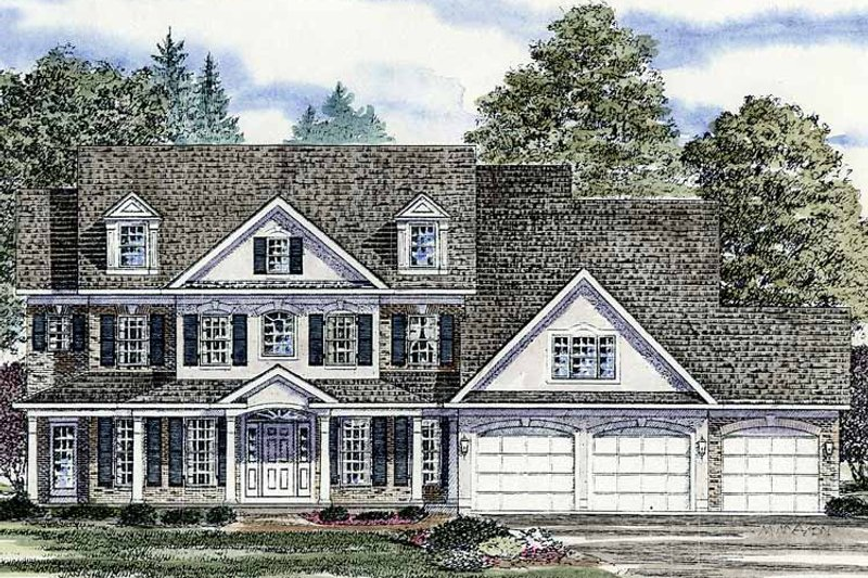 Colonial Exterior - Front Elevation Plan #316-201 - Houseplans.com