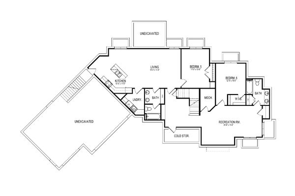 Craftsman Floor Plan - Lower Floor Plan Plan #920-10