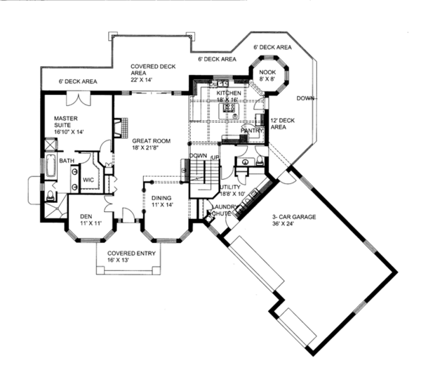 Contemporary Floor Plan - Main Floor Plan Plan #117-844