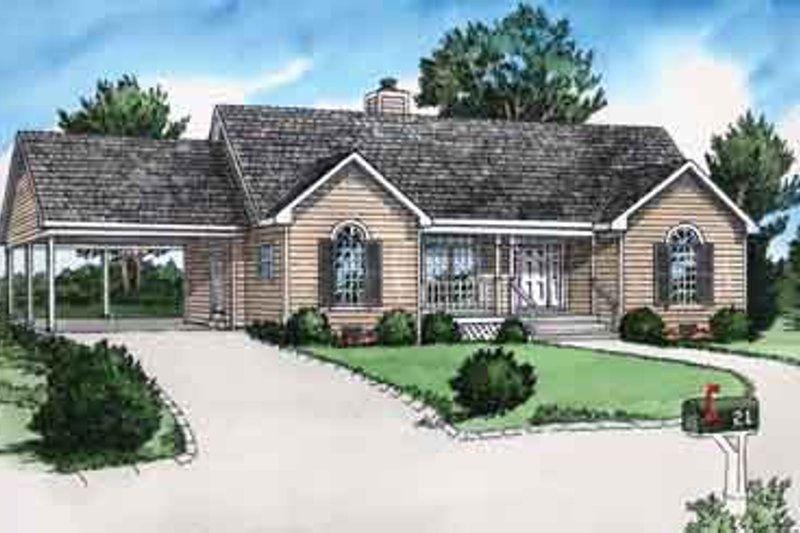 Traditional Style House Plan - 2 Beds 2 Baths 987 Sq/Ft Plan #16-253 Exterior - Front Elevation