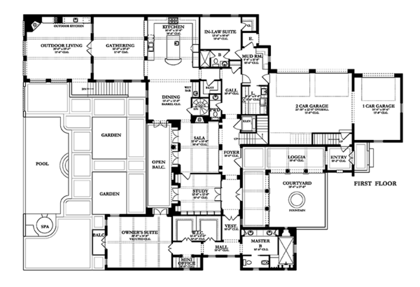 Mediterranean Floor Plan - Main Floor Plan Plan #1058-85