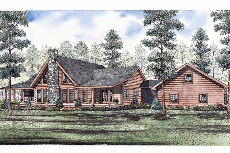 Log Exterior - Front Elevation Plan #17-3262