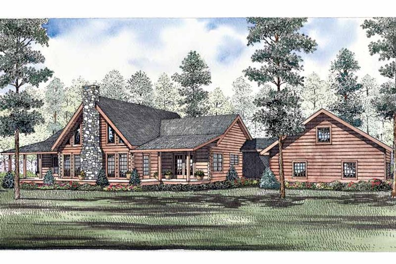 Log Exterior - Front Elevation Plan #17-3262