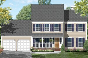 Colonial Exterior - Front Elevation Plan #1053-65