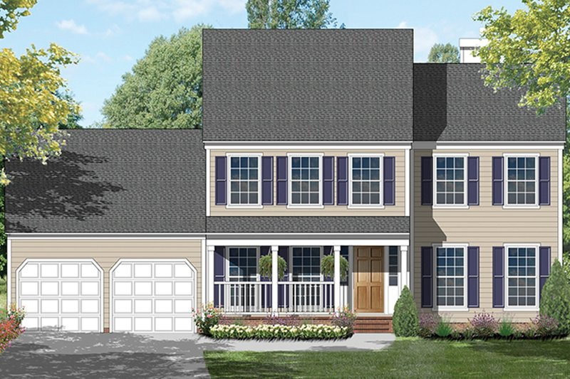 Architectural House Design - Colonial Exterior - Front Elevation Plan #1053-65