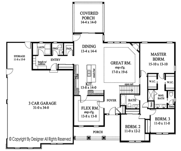 House Design - Ranch Floor Plan - Main Floor Plan #1010-194