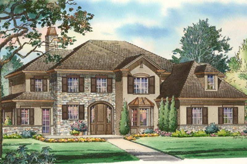 Traditional Style House Plan - 4 Beds 4.5 Baths 5064 Sq/Ft Plan #490-17 Exterior - Front Elevation