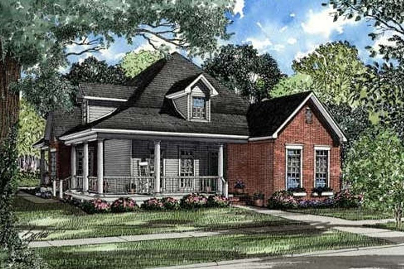 Country Style House Plan - 3 Beds 2 Baths 1845 Sq/Ft Plan #17-1018 Exterior - Front Elevation