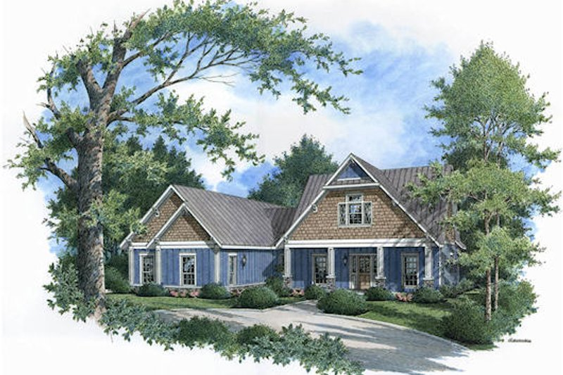 Craftsman Style House Plan - 3 Beds 3 Baths 2643 Sq/Ft Plan #45-362 Exterior - Front Elevation