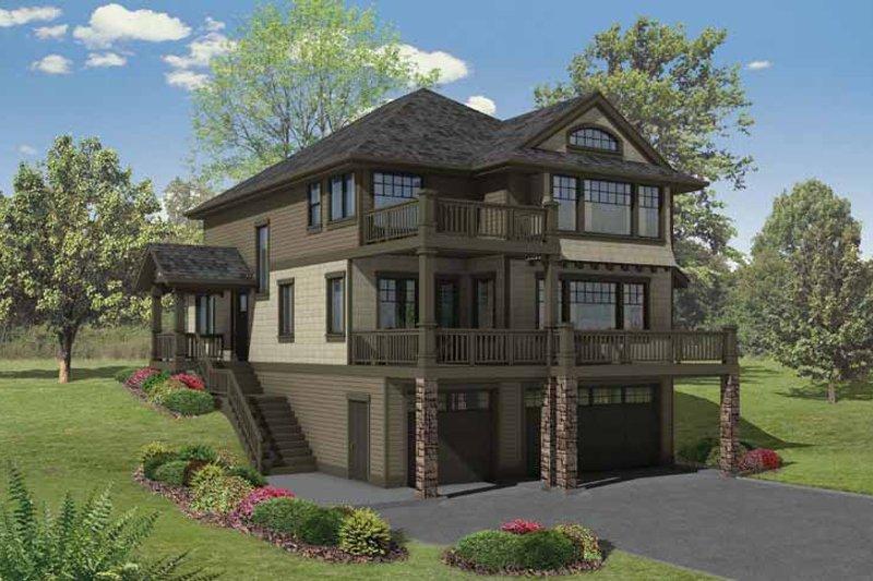 Architectural House Design - Craftsman Exterior - Front Elevation Plan #569-23