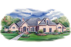 European Exterior - Front Elevation Plan #20-1145