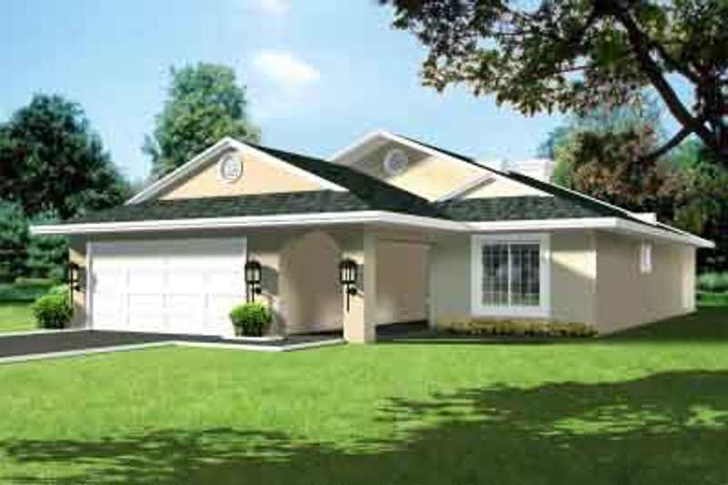 Traditional Style House Plan - 3 Beds 2 Baths 1612 Sq/Ft Plan #1-1312 Exterior - Front Elevation