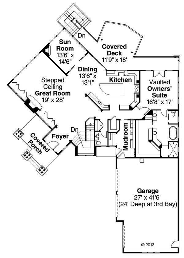 House Plan Design - Craftsman Floor Plan - Main Floor Plan #124-913