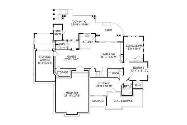 Craftsman Floor Plan - Lower Floor Plan Plan #920-1