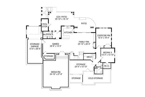 House Plan Design - Craftsman Floor Plan - Lower Floor Plan #920-1