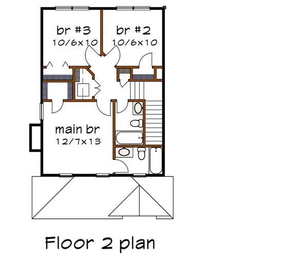 Southern Floor Plan - Upper Floor Plan Plan #79-168