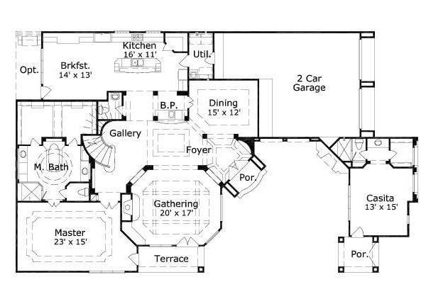 European Floor Plan - Main Floor Plan Plan #411-260